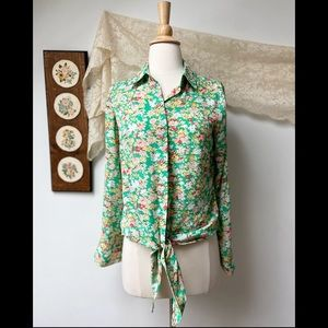 Yaly Couture • Silk Waist Tie Floral Spring Top